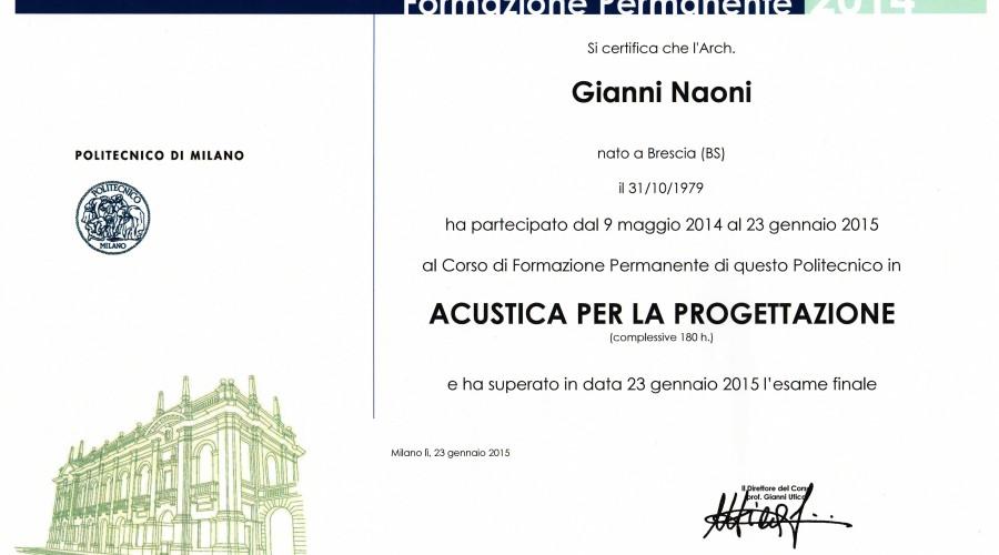 Master di Acustica per la Progettazione_Gianni Naoni_Brescia